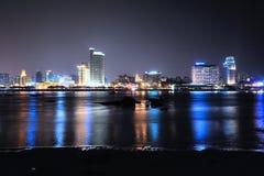 Chinese coastal city of Xiamen night. Eastphoto, tukuchina,  Chinese coastal city of Xiamen night Stock Photos