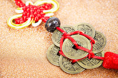 Chinese coins of luck. Royalty Free Stock Images