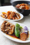 Chinese cold dish. With tofu, pimiento and eggplant in the soy sauce Royalty Free Stock Photos