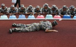 Chinese collage student military  training Royalty Free Stock Image