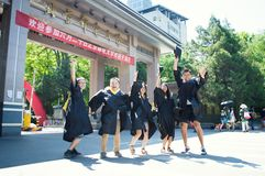Chinese college Graduation picture 8. Happy students in their graduation take picture stock photos