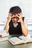 Chinese college male student depressed Stock Photography