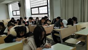 Chinese college students during an English exam in China.