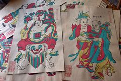 Chinese colored woodblock prints, for decoration during the Chinese New Year Holiday. Chinese colored woodblock prints, for decoration during the Chinese New royalty free stock photos