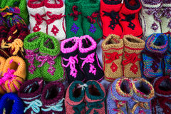 Chinese colorful baby shoes. Chinese  handwork colorful baby shoes Stock Photo