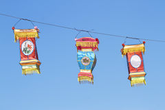Chinese colorful silk lanterns on blue sky Stock Photography