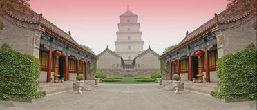 Chinese combat arena. Video-game style combat arena or courtyard inspired from kung-fu films royalty free stock photo