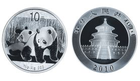 Chinese commemorative silver coin Royalty Free Stock Photos