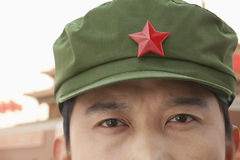 Chinese Communist Solider Wearing Hat With a Star, Close-Up Stock Photos