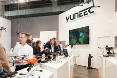 Chinese company Yuneec with drones technoloy on exhibition fair Cebit 2017 in Hannover Messe, Germany. Hannover, Germany - March, 2017: Chinese company Yuneec Royalty Free Stock Photography