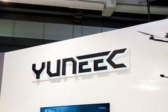 Chinese company Yuneec technoloy logo on exhibition fair Cebit 2017 in Hannover Messe, Germany stock photography