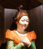 Chinese concubine statue. Painted wooden statue of a Chinese Imperial concubine Royalty Free Stock Photography
