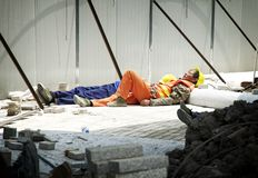 Chinese construction worker sleeping Stock Images