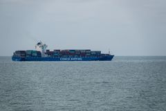 Chinese container ship off the coast of China stock photography