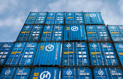 Chinese containers in storage Stock Photo