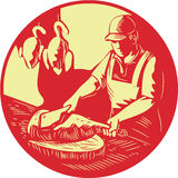 Chinese Cook Chop Meat Oval Circle Woodcut. Illustration of a Chinese Asian chef cook chopping meat with meat cleaver knife on wood block with duck meat hanging Stock Image
