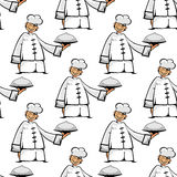 Chinese cook with tray seamless pattern Royalty Free Stock Photography