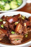 Chinese cooking. A plate of pork meat cooked in soya sauce royalty free stock photos