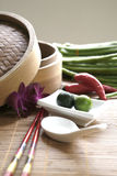 Chinese cooking set with oriental ingredients Stock Photo