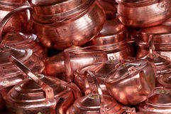 Chinese copper teapots. Bright chinese copper teapots pattern Stock Images