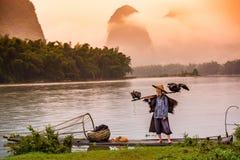 Chinese Cormorant Fisherman Stock Image