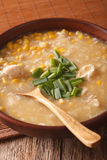 Chinese corn and chicken soup in a bowl close-up. Vertical Royalty Free Stock Photos