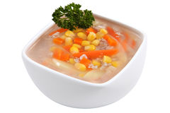 Chinese corn soup in the bowl, on a white background. Stock Images
