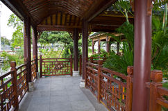 Chinese corridor. Chinese traditional wooden architecture of corridor in outdoor Royalty Free Stock Photo