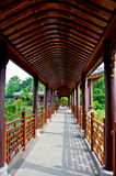 Chinese corridor. Chinese traditional wooden architecture of corridor in outdoor Stock Photos