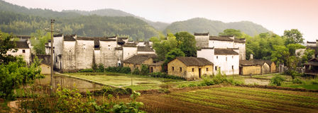 Chinese countryside panoramic view at sunset Royalty Free Stock Images