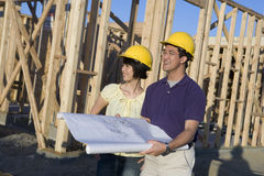 Chinese Couple At Construction Site Stock Images