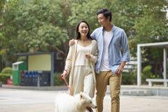 Asian couple laughing while walking dog outdoor in garden. Chinese couple laughing while walking dog outdoor in garden Stock Images