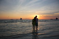 Chinese couple in Boracay stock photography