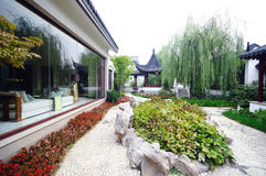 Chinese courtyard. A chinese courtyard with plants and buidings Stock Photos