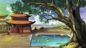 Chinese Courtyard. Digital painting of the Chinese Courtyard Stock Photography