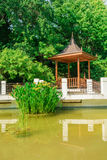 Chinese courtyard with gazebo and pond in arboretum of Sochi. Russia Stock Photography