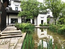 Chinese Courtyard and Green Garden royalty free stock images