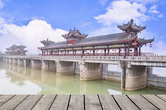 Chinese covered bridge Royalty Free Stock Image