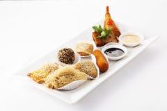 Chinese crispy fried dim sum set. On plate Stock Photo