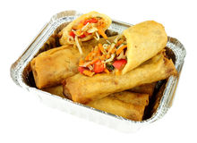 Chinese Crispy Vegetable Spring Rolls In Aluminium Take Away Tray Royalty Free Stock Photo