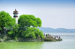 Turtle head island lighthouse Tai Lake Royalty Free Stock Images