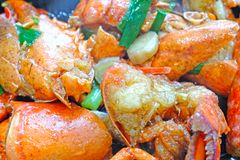 Chinese cuisine – fried lobster with ginger and Chinese onion royalty free stock photo