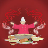 Chinese Cuisine and Chef with Smoke forming into Dragons. Illustration of a Chinese Chef preparing oriental dishes with smoke forming into dragons royalty free illustration
