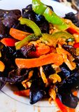 Chinese Cuisine: Chicken with Mushrooms and Peppers. Chinese cuisine chicken mushrooms peppers ethnic asian food tasty delicious exotic meal dinner ingredients royalty free stock photos
