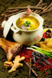 Chinese cuisine, chicken soup in the pot Royalty Free Stock Photos