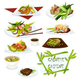 Chinese cuisine dishes for restaurant menu design Royalty Free Stock Photo