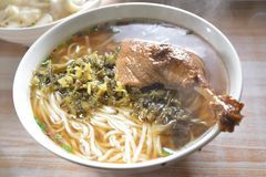 Duck Wing rice noodle soup. Chinese cuisine Duck Wing rice noodle soup royalty free stock photo