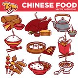 Chinese cuisine food dishes vector flat icons set Stock Photography