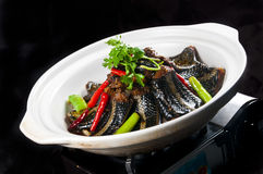 Chinese cuisine Fried eel. Chinese food is delicious eel Royalty Free Stock Photography