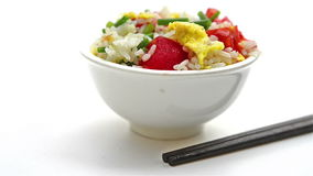 Chinese cuisine - homemade fried rice with tomatoes & egg stock footage